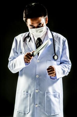psychopathe: Docteur homme Serial Killer psychose couteau de maintien