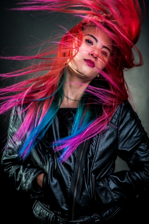 young girl movement colour hair magnificent photo