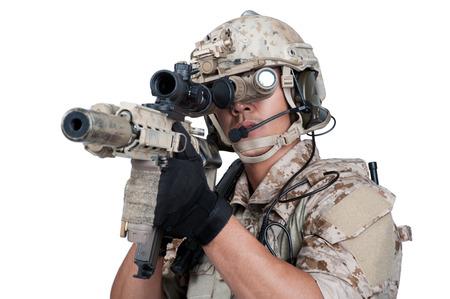 soldier holding Machine gun shoot