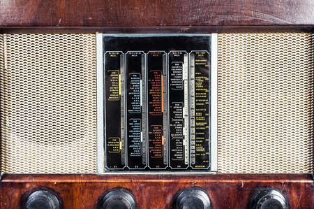 shortwave: old classic radio vintage in isolated Stock Photo
