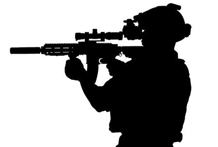 machine gun: soldier hold Machine gun full mrmor for silhouette isolated