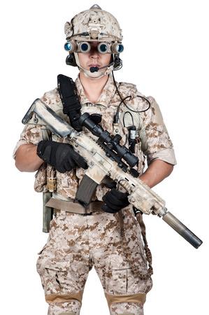 machine gun: soldier man full armor hold machine gun isolated Stock Photo