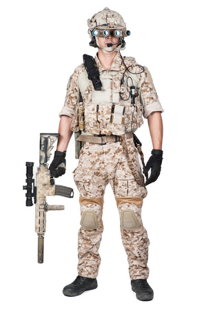 soldier man full armor hold machine gun isolated Stock Photo