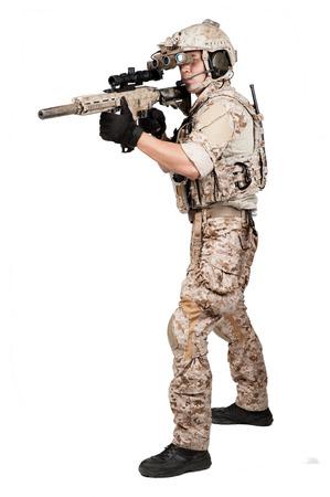 gun man: soldier man full armor and helmet isolated