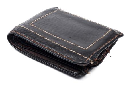 with no money: wallet old brown no money