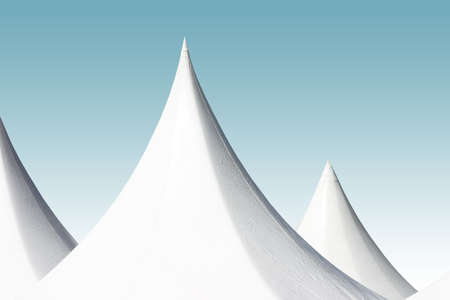 sharply: Curved, sharply pointed, bright white tent tops against a gradient turquoise sky.