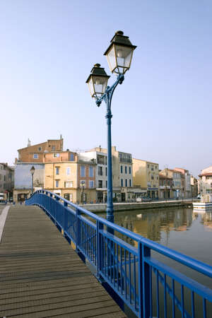 brackish water: Bright blue bridge crosses the Etang de Berre in Martigues, France.