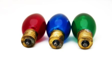 Large, old style screw type Christmas lightbulbs. Selective focus and saturated colors and high contrast. Stock Photo - 1988265