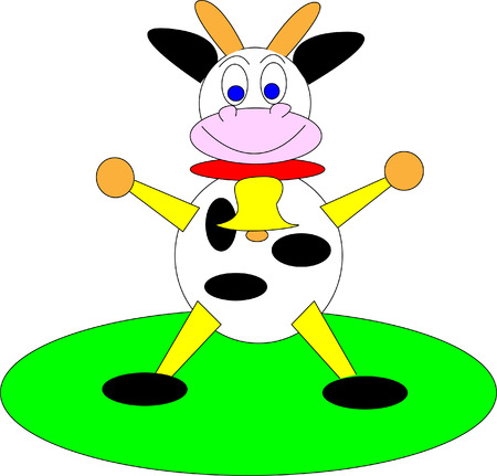 Illustrated cow on the white background Vector