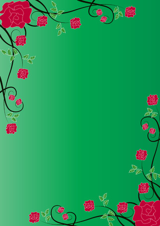 green floral background with red roses Vector