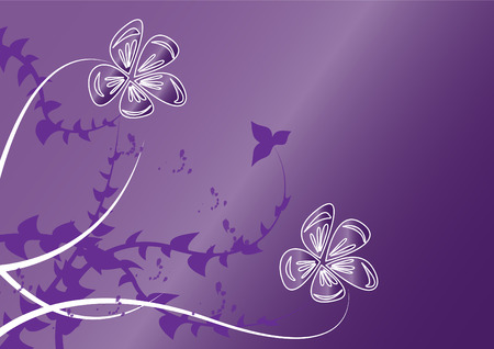 brown background: white flowers on violet background