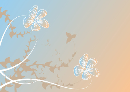 white flowers on blue-pink background Vector