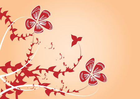 red flowers on orange background Vector