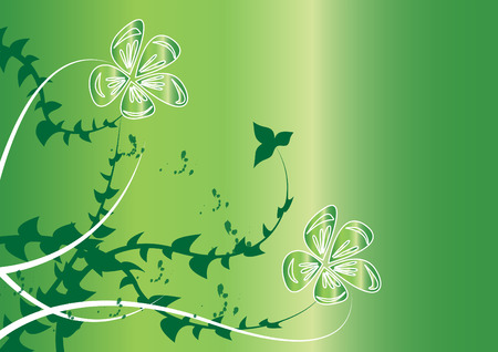 green flowers on green background Vector