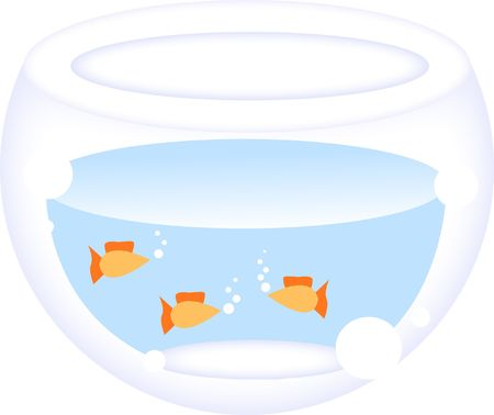 Fishbowl with three gold fishes photo