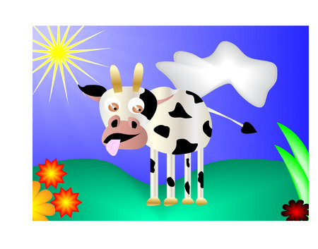 Cow on meadow with flowers Vector