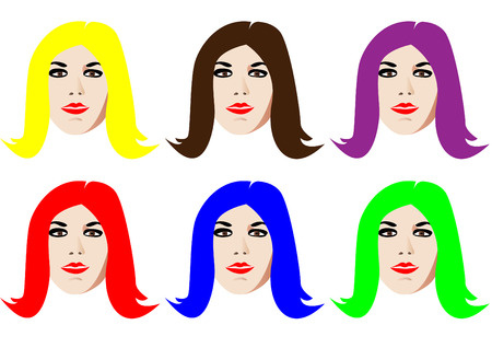 Six isolated faces with colorful hair Vector