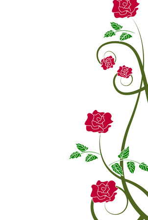floral background with red roses Vector