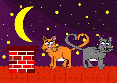 cat on roof in night under stars Stock Vector - 4007686