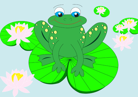 frog on water lily in water Stock Vector - 4007689