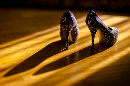 strass: shoes with strass on the floor