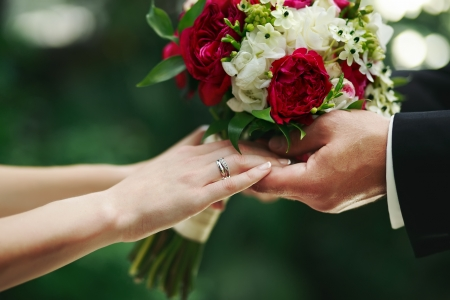 marry me today and everyday, hands of a wedding caucasian couple Stock Photo