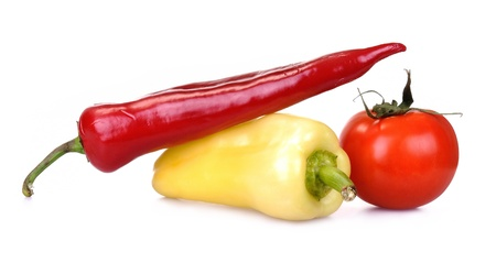 bell peper: Yellow Bell Pepper, Red Peper and tomato on a white background