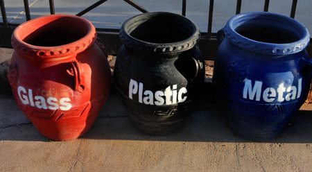 separated: separated trashcans