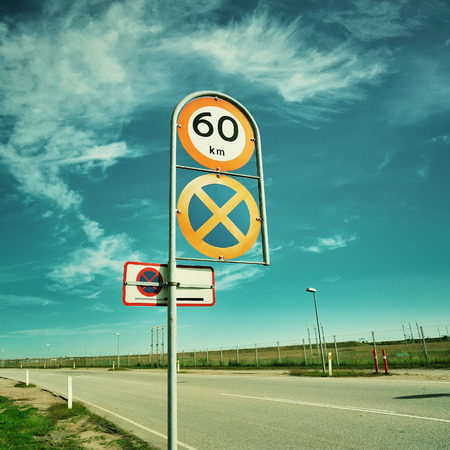 horison: Road which goes ahead. Trip to airport Stock Photo