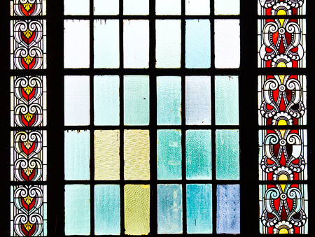 colored window: Stained glass window of colored glass
