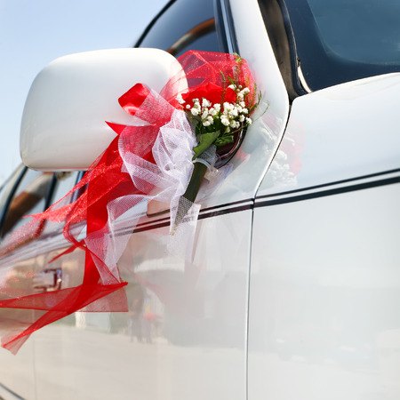 limo: Decorated wedding limo