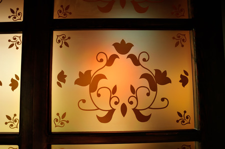 stained glass panel: ornate glass of a window Stock Photo