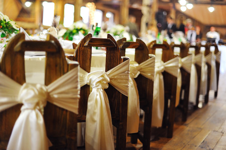 wedding table decor: wedding banquet  in a restaurant Stock Photo