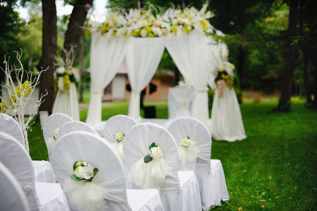 romantic wedding ceremony in forest