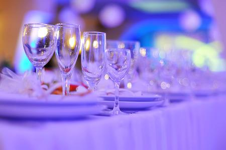 wedding reception decoration: wedding banquet in restaurant, served table