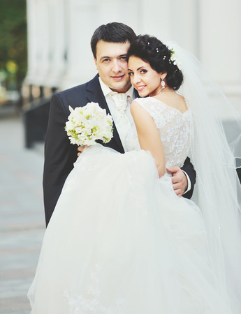 wedding couple  outside portrait Stock Photo