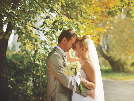 outdoor wedding: These romantic happy moments of wedding romantic couple.