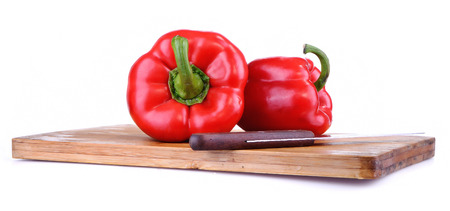red bell pepper: Red Bell Pepper, Isolated On White