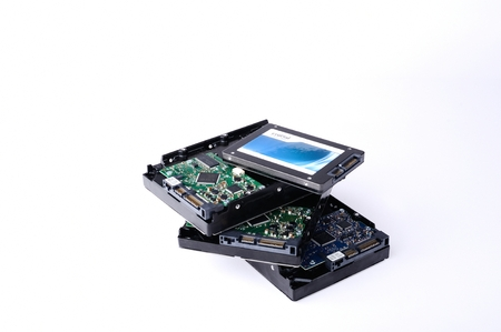hard drive crash: Hard disk drive HDD and SSD isolated on white background