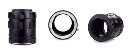 home addition: Macro Extension Tube Ring Adapter, isolated on white Stock Photo