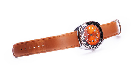 swiss culture: wrist watch on a white background