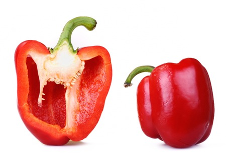 red bell pepper: Red Bell Pepper, Isolated On White, one cut Stock Photo