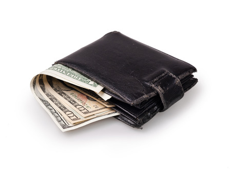 us paper currency: black wallet with US Paper Currency on the white background