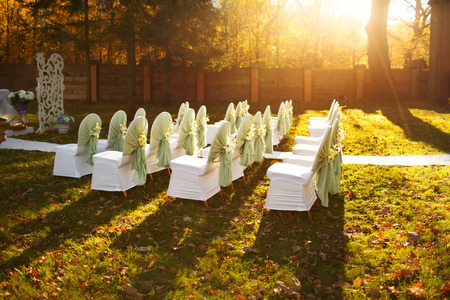 wedding ceremony in  beautiful autumn  garden Stock Photo