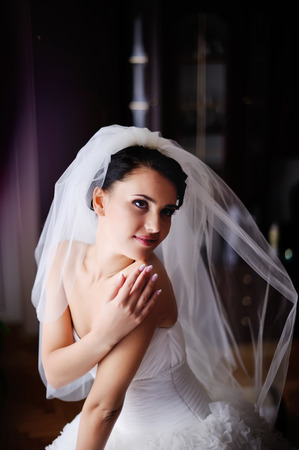 marriageable: young  bride posing at home.