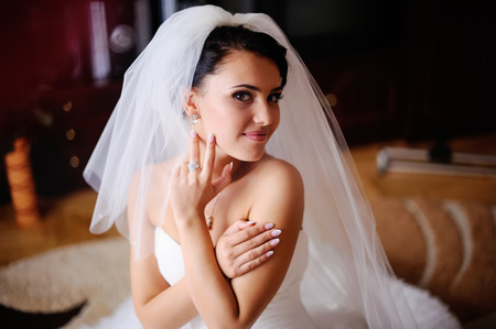 fiancee: Young brunette bride in the morning at home.  Adorable fiancee.