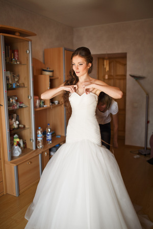 marriageable: young caucasian bride at home