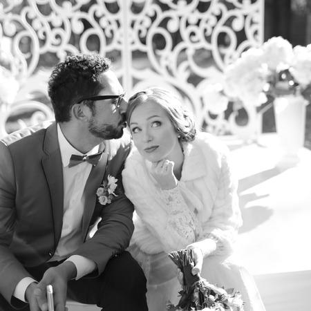 happy wedding: Happy newlywed couple together. Groom and bride on wedding day.