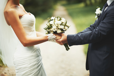 Young wedding  couple. Groom and bride together.