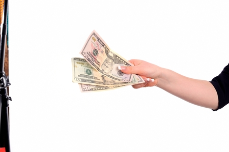 handcarves: Handing Over cash and key, isolated on White Background